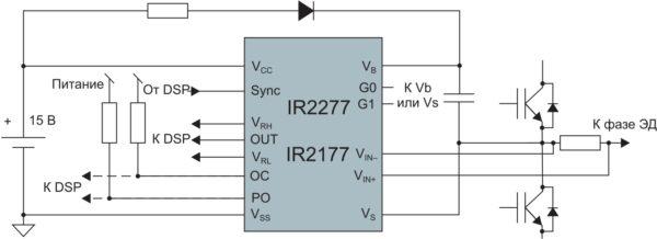 Типовая схема включения ИМС измерения тока серии IR227x