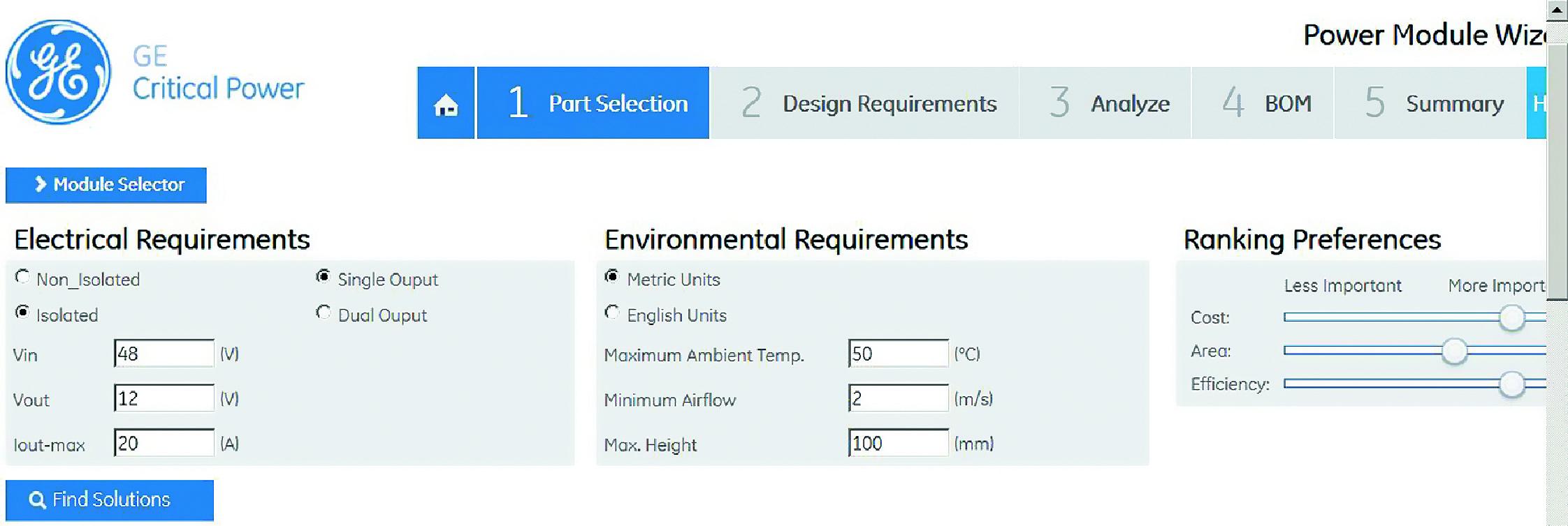Окно выбора параметров утилиты Module Selector