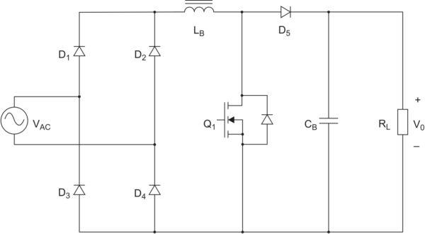 Традиционный повышающий ККМ (в типовом корректоре Q1 — полевой транзистор с супер-переходом, а D5 — карбид-кремниевый диод Шоттки)