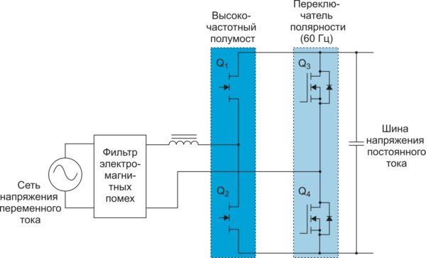 Двухтактная безмостовая повышающая топология (полный мост, без диодов)