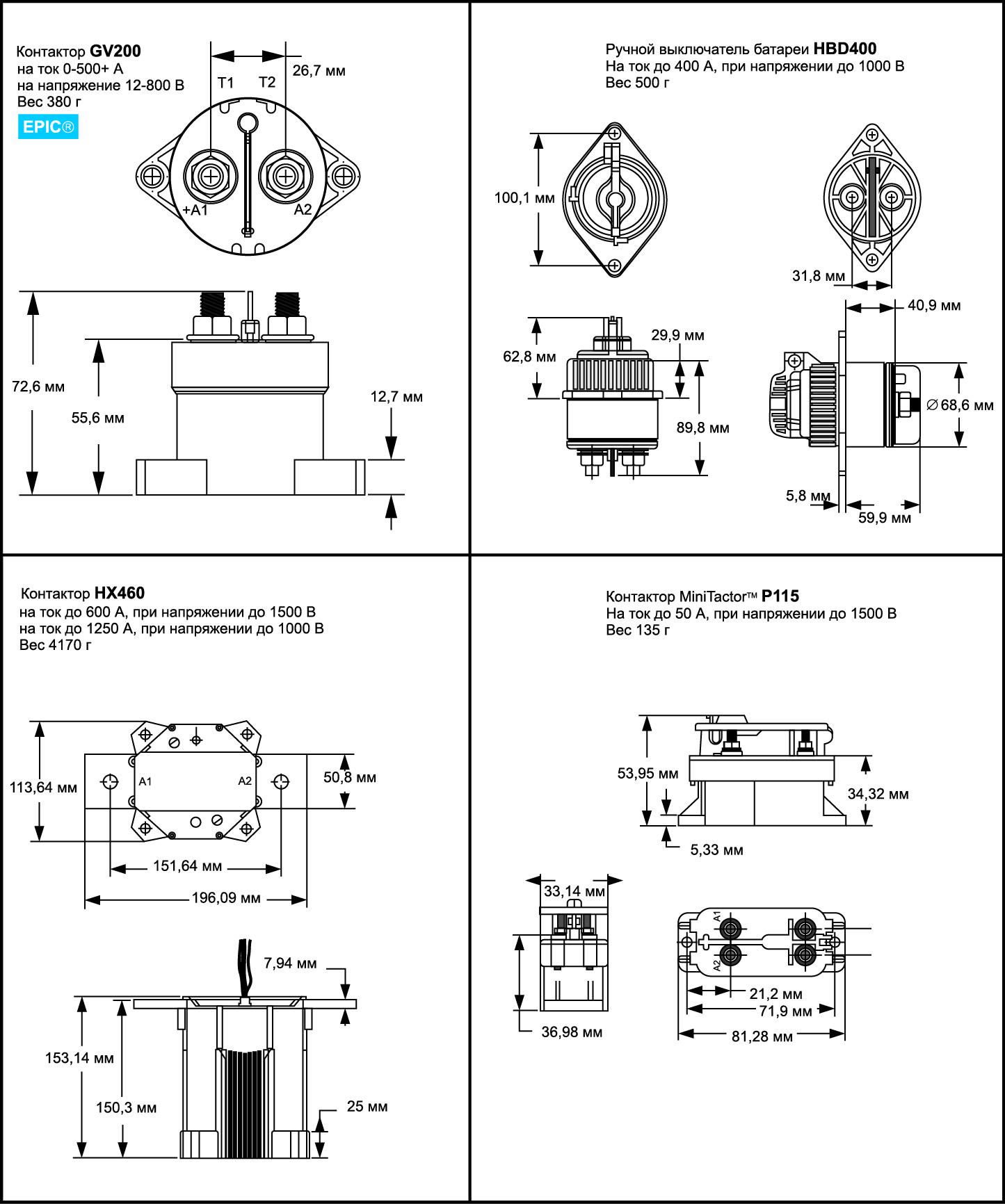 Основные технические характеристики и габариты некоторых контакторов