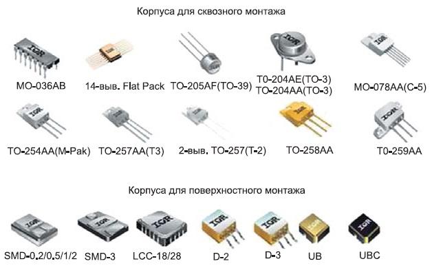 Корпуса дискретных мощных полевых транзисторов фирмы IR, ставшие стандартными