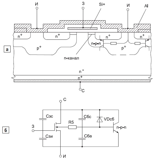 Структура мощного МДП-транзистора, изготовленного методом двойной диффузии