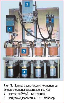 Пример расположения компонентов фильтрокомпенсирующих звеньев КУ