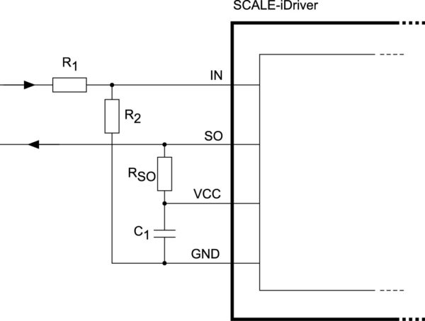 Повышение пороговых уровней управляющих сигналов с помощью резистивного делителя