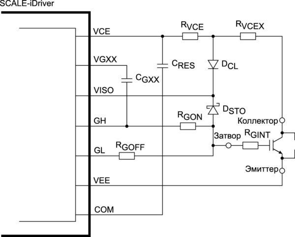 Защита от короткого замыкания с помощью резистивной цепочки RVCEX