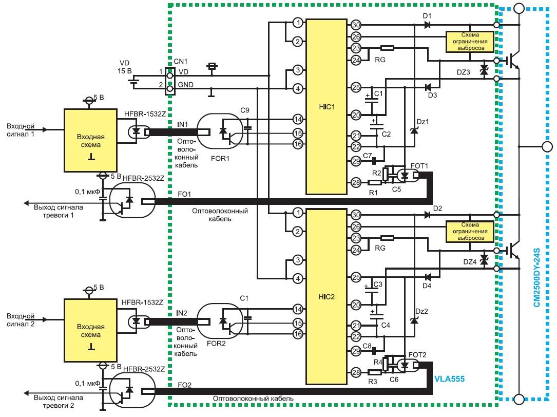Подключение драйвера VLA555 к IGBT-модулю