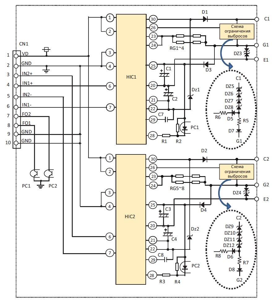 Электрическая принципиальная схема драйвера VLA553