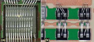 Рис. 5. Параллельные выводы силового кристалла (а) и параллельные чипы (Ь)