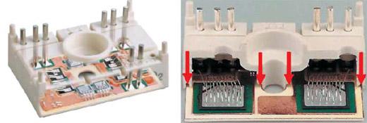 Внутренняя структура модулей SEMITOP (слева — CIB, справа — полумост)