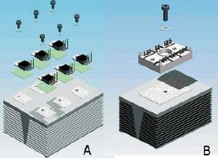 Сборка 3-фазного инвертора: A—дискретные транзисторы ТО-220, В - модель SEMITOP