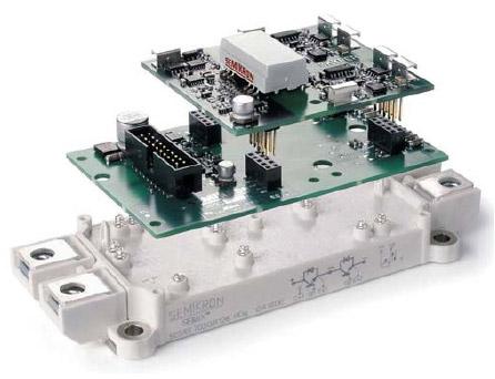 Внешний вид интеллектуального модуля IGBT: SEMiX 703 GB 126HD + SKYPER + плата адаптера