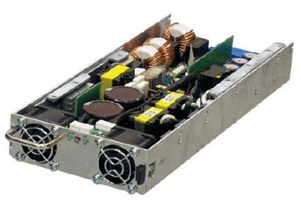 Внешний вид низкопрофильного(1U) блока питания FPS1000-24 (защитная крышка снята)