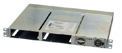 Внешний вид 19-дюймового каркаса FPSS1U с установленным блоком питания FPS1000-48. Отсутствие вентиляционных отверстий в крышке и дне конструкции дополнительно обеспечивает надежное санкционирование модулей в промышленных условиях эксплуатации