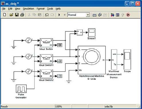 Функциональная схема асинхронного двигателя с элементами коммутации и измерений