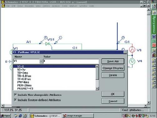 Вид окна атрибутов источника импульсного напряжения V3