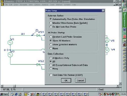 Вид панели установки параметров программы PROBE