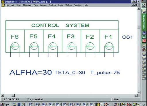 Чертеж графического символа системы импульсно-фазового управления преобразователя, выполненного по трехфазной мостовой схеме