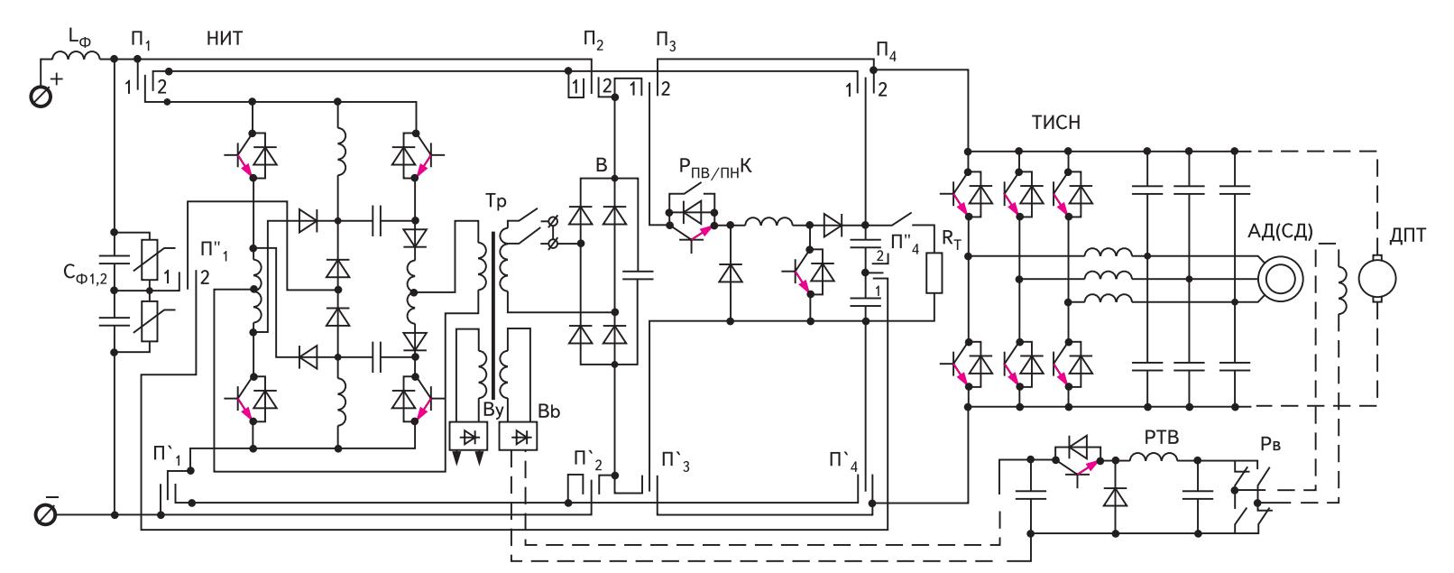 Универсальная схема импульсного регулирования силового электропривода переменного (постоянного) тока с гальванической развязкой