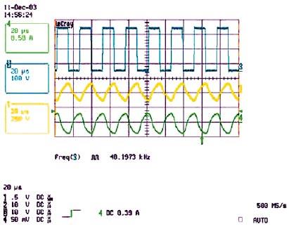 Рис. 8. Напряжение на VS (синий график), на лампе (желтый график) и ток лампы (зеленый график) в рабочем режиме