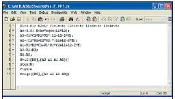 Рис. 3. Программа для расчета коэффициентов передаточной функции, построения реакции на единичный скачок и частотных характеристик ППФ