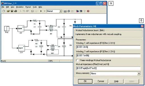 Рис. 5. Функциональная модель фильтра для получения реакции на единичный скачок при встречном и согласном включении катушек (а) и окно настройки параметров взаимной индуктивности (б)
