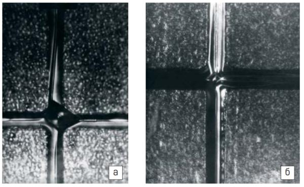 След пересекающихся зон на кремнии с ориентацией (111) (а) и (100) (б). Стартовая поверхность, 100х