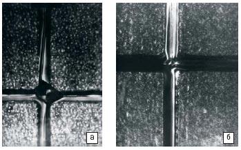Рис. 1. След пересекающихся зон на кремнии с ориентацией (111) (а)