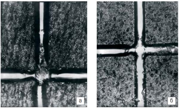 Финишная поверхность пластины с ориентацией (111) (а) и (100) (б) после выхода зон на поверхность, 100x и (100) (б). Стартовая поверхность, 100x