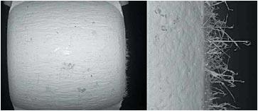 Нарастание нитевидных кристаллов Ag2S на поверхности пружинного контакта (длина до 40 мкм)