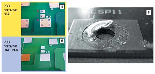 Вид контактной зоны PCB с покрытием Ni/Au и HAL SnPb после коррозионных тестов с приложением напряжения смещения (10 млн–1 H2S, 10 дней, влажность 75%, 25 °C, смещение 80 В)