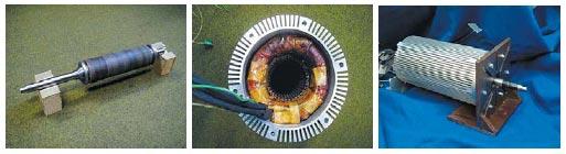 Внешний вид, ротор и статор электродвигателя на постоянных магнитах