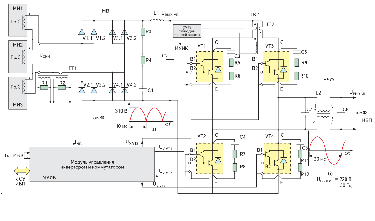 Схема инвертора (модуля МВ, модуля ТКИ, НЧФ)