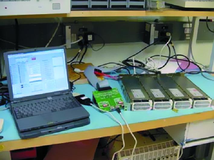 Соединение ПК через преобразователь сигналов с интерфейсной платой (плата соединена с разъемом платформы посредством шлейфного кабеля)