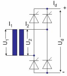 Электрическая схема конфигурации B2, B2C (однофазный выпрямительный мост)