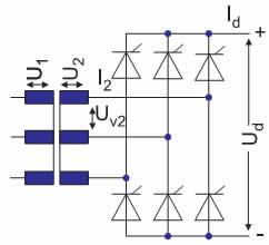 Электрическая схема конфигурации B6, B6C (3-фазный выпрямительный мост)