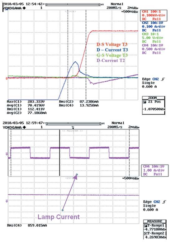 Осциллограммы работы схемы нафазе выключения транзистора T3