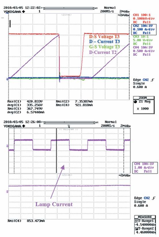 Осциллограммы работы схемы нафазе выключения транзистора T3 с устройством SPD07N60C3