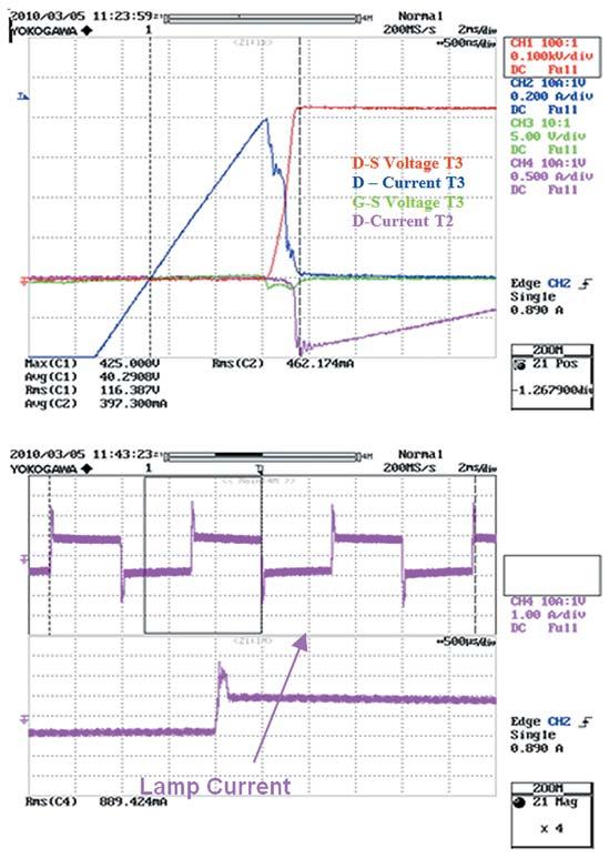 Осциллограммы работы схемы с устройством SPD07N60C3 без диодов D2–D5