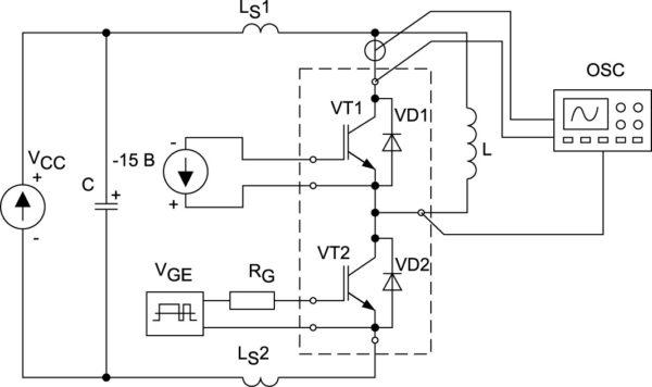 Схема для измерения динамических параметров оппозитного диода VD1