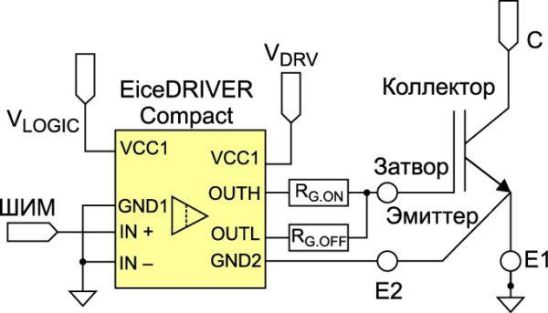 Типовая схема включения драйвера EiceDriver Compact для управления транзистором в корпусе ТО-247-4