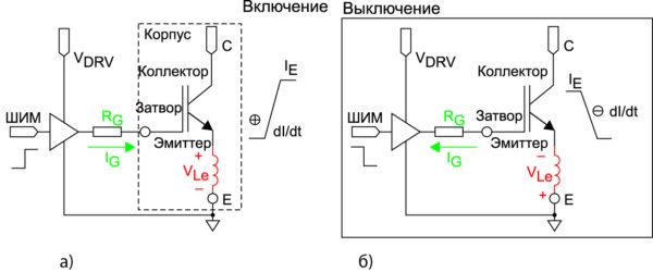 Влияние паразитной индуктивности эмиттерного вывода IGBT на цепь управления в режиме