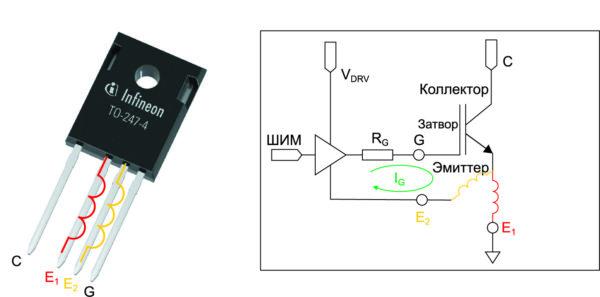Расположение выводов IGBT-ключа в корпусе ТО-247-4