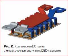 Копланарная DC-шина с многоточечным доступом к DBC-подложке