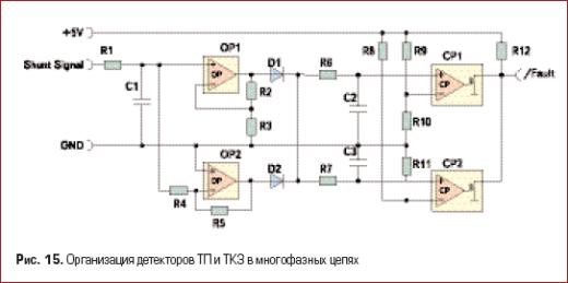 Организация детекторов ТП и ТКЗ в многофазных цепях