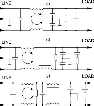 Принципиальная электрическая схема фильтров серии T