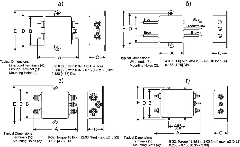 Типы корпусов фильтров серии B