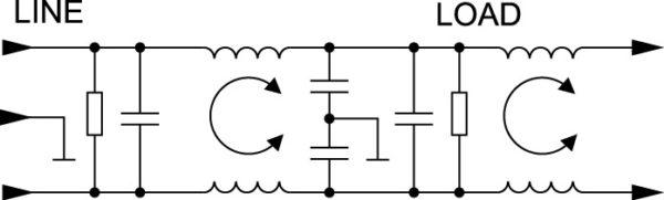 Принципиальная электрическая схема фильтров серии EMC