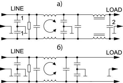 Принципиальная электрическая схема фильтров серии FC