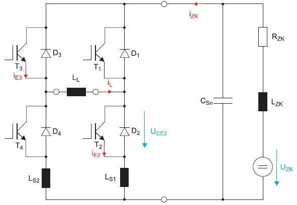 Эквивалентная схема однофазного моста с индуктивной нагрузкой